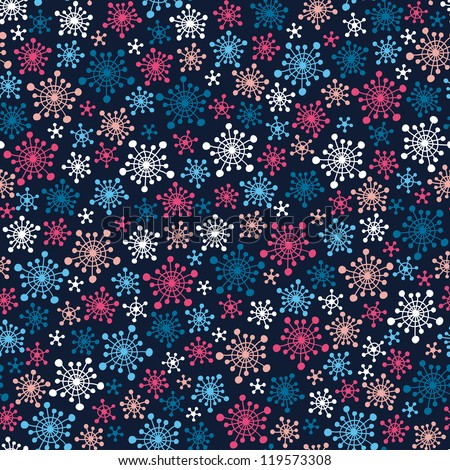 Seamless dark pattern with color stylized snowflakes