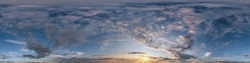 Seamless dark sky after sunset hdri panorama 360 degrees angle view with beautiful clouds  with zenith for use in 3d graphics or game development as sky dome or edit drone shot