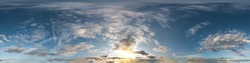 Seamless dark sky before sunset hdri panorama 360 degrees angle view with beautiful clouds for use in 3d graphics or game development as sky dome or edit drone shot
