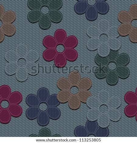 seamless denim background with scrapbook flowers