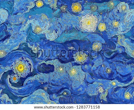 Seamless digital painting pattern of cloudy blue night sky with stars in impressionist painting style.