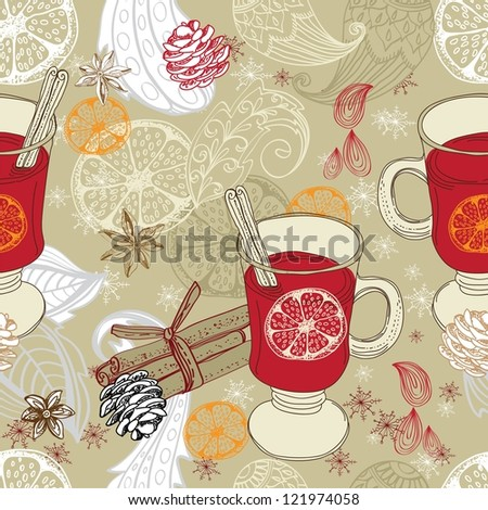 Seamless doodle background with mulled warm wine and floral elements for design