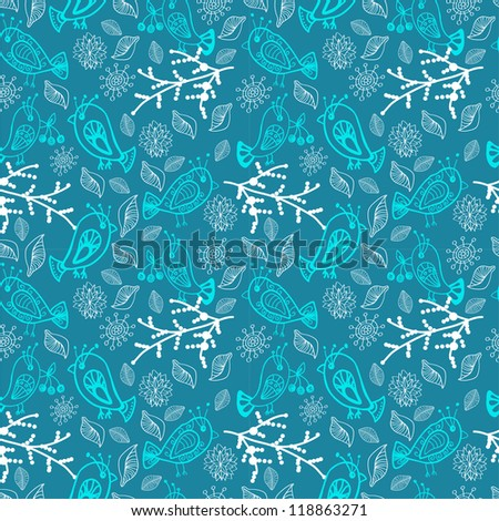 Seamless doodle background with snowflakes and birds, illustration