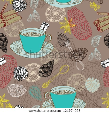 Seamless doodle background with tea and decorative elements for design
