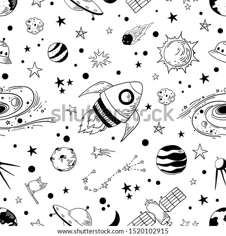 Seamless doodle space pattern. Trendy kids cosmos graphic elements, astronomy pencil sketch.  illustration star planet meteor rocket set