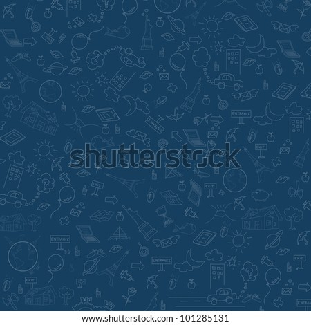 Seamless doodles in blue background