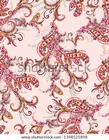 seamless drawing paisley pattern. all over print.