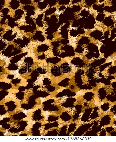 Seamless Endless Hand Drawn Abstract Watercolor Leopard Pattern with Floral Tie Dye Gradient Background