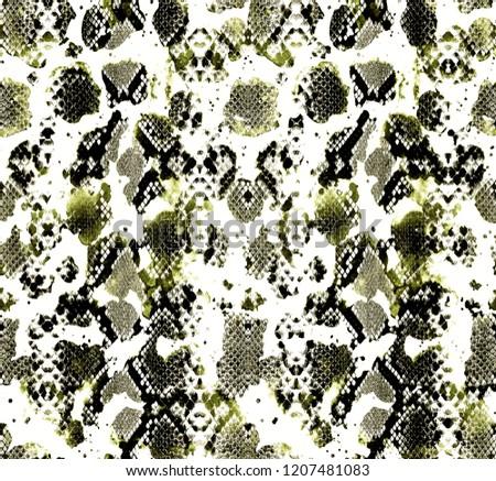 Seamless Endless Hand Drawn Watercolor Snake Skin Pattern Tie Dye Surface Design