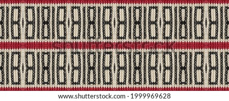 Seamless Ethnic Embroidery. Wicker Embroidery Calm Print. European Cloth. Vintage Rhombus Wicker. Wicker Native Mouline. Rug macrame Volume Picture. Photo stock ©