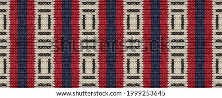 Seamless Ethnic Embroidery. Wicker Embroidery Light Print. Armenian Relief. Boho Rhombus Knitted. Wicker Slavic Mouline. Rug macrame Ethnic Style. Photo stock ©