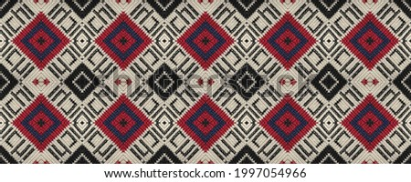 Seamless Ethnic Ornament. Wicker Embroidery Delicate Print. Native Picture. Geometric Lines Mouline. Wicker Scandinavian Mat. Rug macrame Christmas Cloth. Photo stock ©
