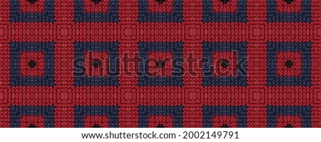 Seamless Ethnic Pattern. Wicker Embroidery Delicate Print. Northern Relief. Folk Rhombus Mouline. Wicker Ukrainian Tapestry. Rug macrame Aristocratic Vintage. Photo stock ©