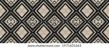 Seamless Ethnic Pattern. Wicker Embroidery Dull Print. Slavic Ethnic Pattern. Decoration Rhombus Rug. Wicker Turkmenian Mouline. Rug macrame Old Old Texture. Photo stock ©