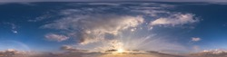 Seamless evening  blue sky hdri panorama 360 degrees angle view with zenith and beautiful clouds for use in 3d graphics as sky dome or edit drone shot