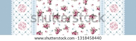 seamless fabric pattern with pink roses blue wild flowers and embroidered ribbon on white background