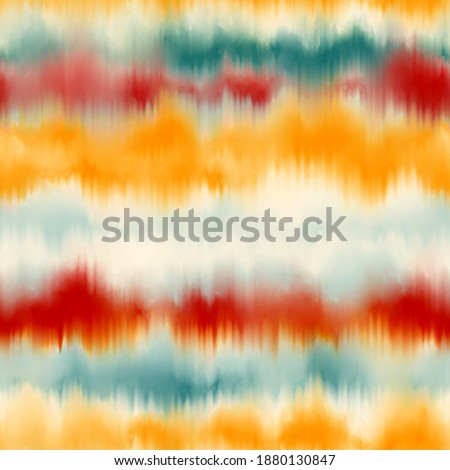 Seamless faux striped tie dye pattern swatch. High quality illustration. Multicolored hippie stripes of bleeding ink. Abstract digital design for fashion or other surface pattern printing.