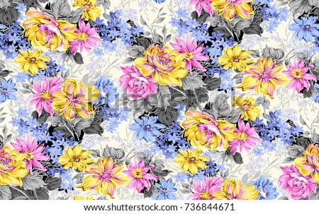 Seamless flora pattern with Background