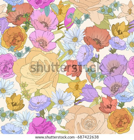 seamless floral backdrop of colorful flowers, perfect for wedding and holiday print