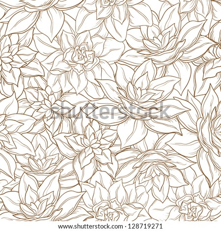 Seamless floral background, narcissus flowers contour on white.