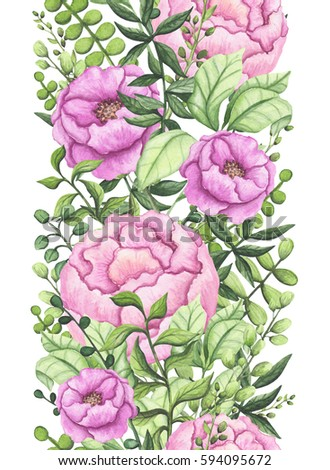 Seamless Floral Border of Watercolor Bright Green Foliage and Pink Flowers #594095672