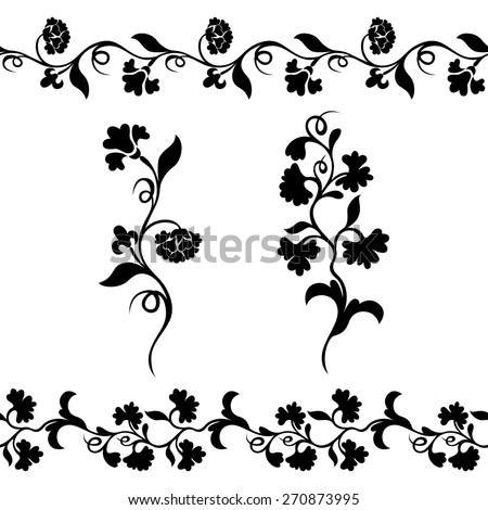 seamless floral border pattern, silhouette design plant ornament