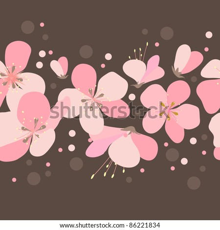 Seamless floral border with pink cherry flowers. Raster version.