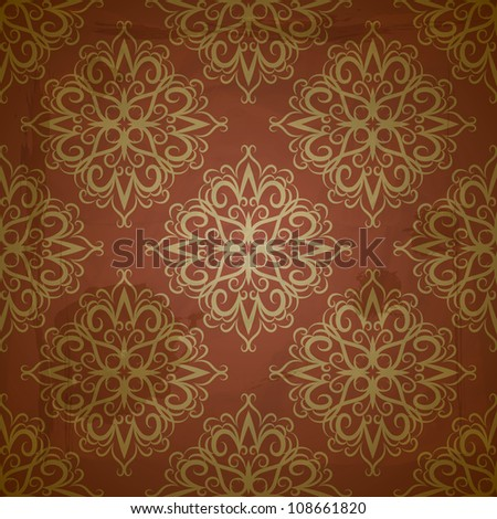 seamless floral golden pattern on red grungy background with crumpled paper texture