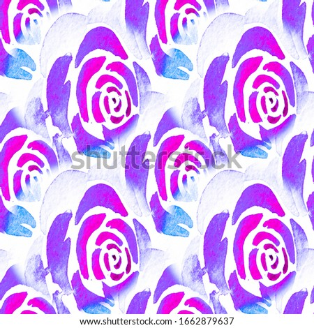 Seamless Floral Natural Acrylic Artwork. Indigo Ornamental Leafy Color Ink Illustration. Violet Endless Abstract Art. Repeated Phantom Blue Abstract Watercolor. Lavender Vegetal Oil Painting.