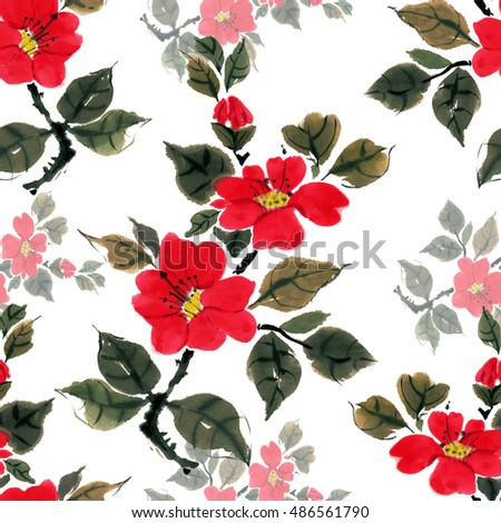 Seamless floral pattern beautiful camellia, hand painted, free brush, watercolor, ink. Style Traditional oriental art, japan, china, korea.