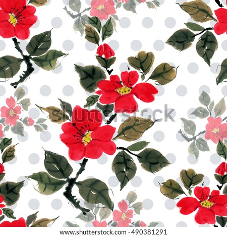 Seamless floral pattern beautiful camellia, hand painted, free brush, watercolor, ink. Style Traditional oriental art, japan, china, korea