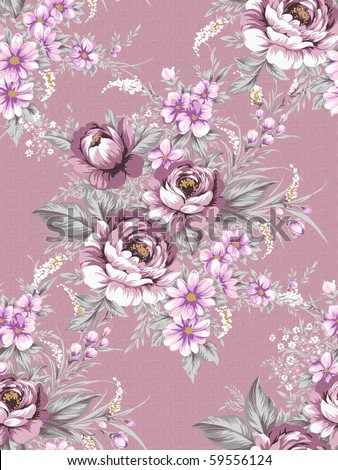 Seamless floral pattern design - stock photo