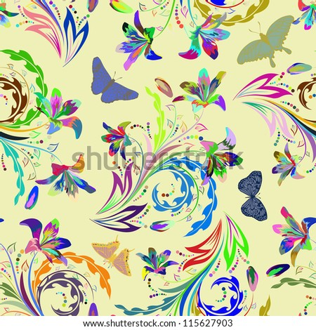 Seamless floral pattern. For easy making seamless pattern just drag all group into swatches bar, and use it for filling any contours.Raster version.