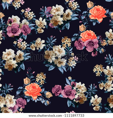 Seamless Floral Pattern for Textile Print and Decoration of Wallpaper and Interior Design
