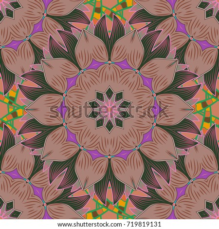 Seamless Floral Pattern in. Flowers on neutral, green and brown colors. Colour Spring Theme seamless pattern Background. Flat Flower Elements Design.