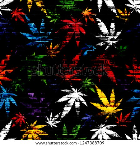 Seamless floral pattern of green and purple leaves of marijuana and cannabis on black background. for printing on wallpaper and on fabric. bitmap
