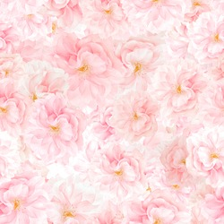 SEAMLESS floral pattern of sakura blossoms. Floral print background