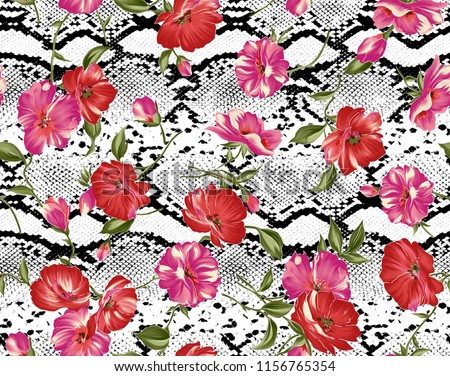 Seamless floral pattern on a leopard skin texture, snake. #1156765354