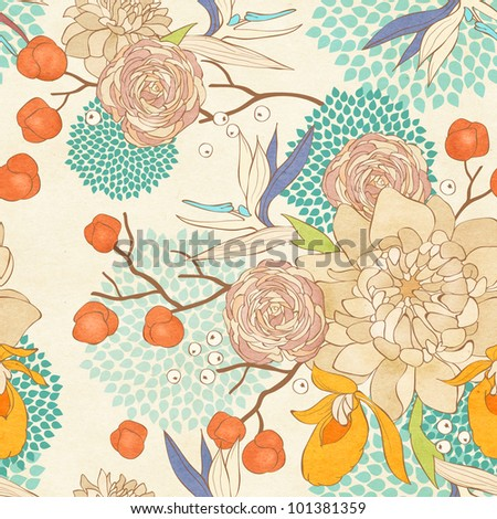 Seamless floral pattern on paper textured background