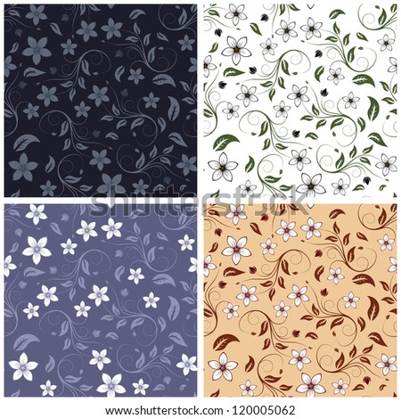 Seamless  floral  pattern set in different color.