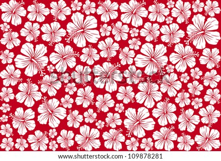 Seamless floral pattern whit hibiscus (hibiscus pattern, seamless hawaiian pattern wallpaper, seamless hibiscus flower background, hawaiian pattern)