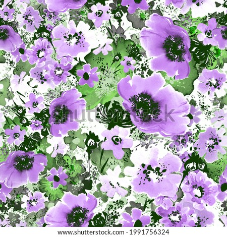 Seamless floral pattern wild flowers drawn by paints. Beautiful print for decoration of textiles and design.