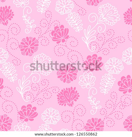 Seamless floral pattern with a cute pink flowers. Raster version. Vector is also available in my gallery
