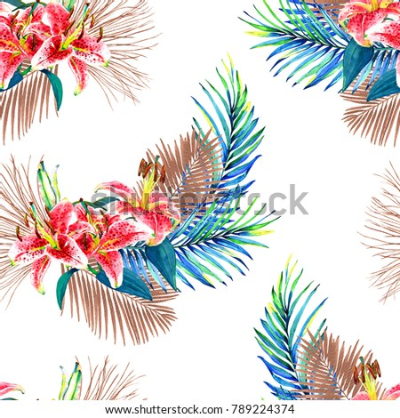 Seamless floral pattern with beautiful watercolor palm leaves and lilies. Colorful jungle foliage with bronze metallic elements on white background. Textile design. #789224374