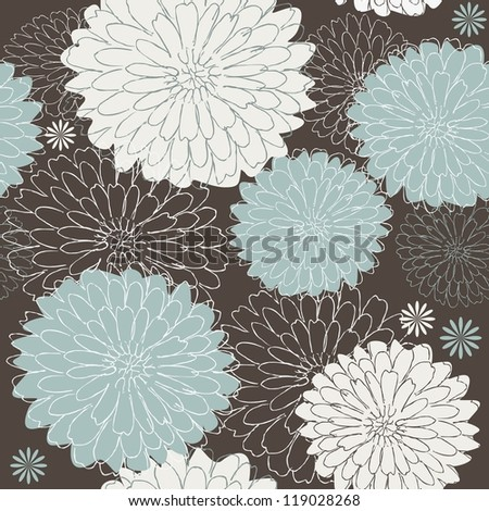 seamless floral pattern with blue and white flowers - stock photo