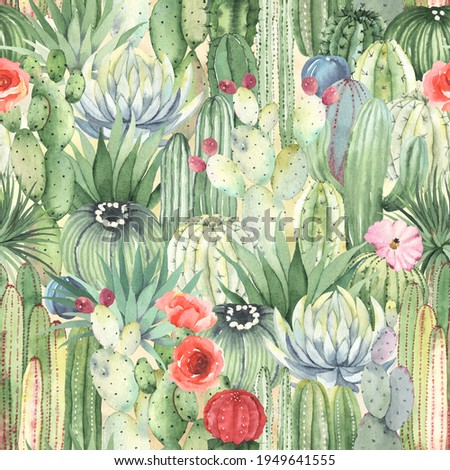 Seamless floral pattern with cacti, succulents and flowers. Watercolor garden, mexican colorful print. Stock photo ©