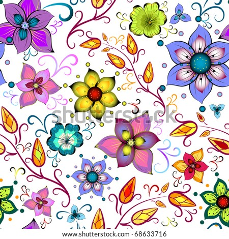 Seamless floral pattern with chaotic flowers