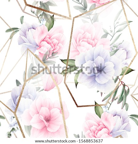Seamless floral pattern with flowers on light background, watercolor. Template design for textiles, interior, clothes, wallpaper. The geometry of the crystal. Golden texture. Bouquet in a crystal