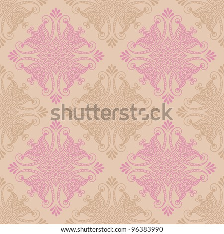 Seamless floral pattern with indian ornament. Raster version