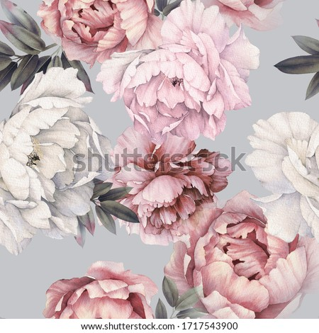 Seamless floral pattern with peonies on light background, watercolor. Template design for textiles, interior, clothes, wallpaper. Botanical art